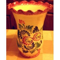 Ancien grand vase barbotine signé céramique Bretagne déco main rebord tulipe bonne état