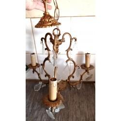 Très ancien lustre 3 branches avec bougies et décor faux diamants bronze ou laiton pour collectionneurs ou restaurateurs