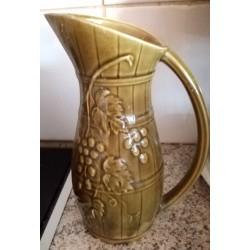 Ancien pichet a vin vert numéroté Sarreguemine année 70 céramique ou grès relief avec anse bon état