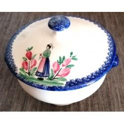 Ancien pot a sucre ou autre numéroté Quimper céramique avec couvercle très bon état