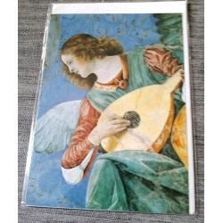 Carte postale avec enveloppe collection Melozzo de Foril ange musicien a la mandoline neuve