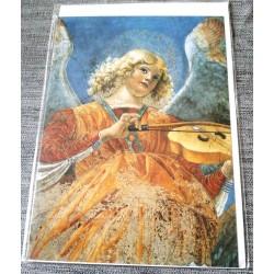 Carte postale avec enveloppe collection MELOZZO DA FORLI ange musicien a la viole 1480 neuve