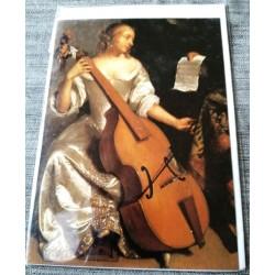 Carte postale avec enveloppe collection CASPAR NETSCHER leçon de basse,viole de gambe 1675 neuve