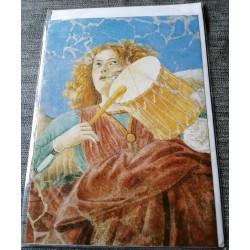 Carte postale avec enveloppe collection MELOZZO DA FORLI ange musicien au tambour 1480 neuve