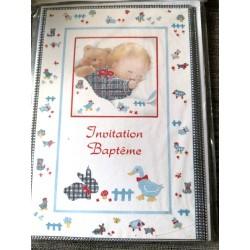 Lot de 6 faire parts avec enveloppes bébé invitation baptême garçon neuf