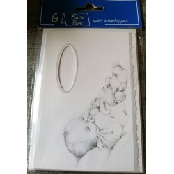 Lot de 6 faire parts naissance bébé garçon ou fille mixte fond blanc neuf