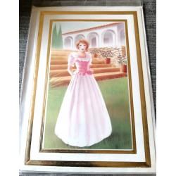Carte postale avec enveloppe sans texte anniversaire fête retraite femme robe rose neuve