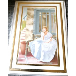 Carte postale avec enveloppe sans texte anniversaire fête retraite femme robe bleu neuve