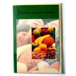 Carte postale avec enveloppe bon rétablissement multi fruits fond vert neuve