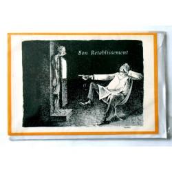 Carte postale double avec enveloppe bon rétablissement humour d'antan neuve