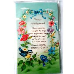 Carte postale double avec enveloppe bon rétablissement floral et oiseaux neuve