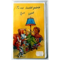 Carte postale double avec enveloppe bon rétablissement pour enfant fillette animaux neuve
