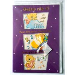 Carte postale double avec enveloppe bon rétablissement pour enfant oursons neuve