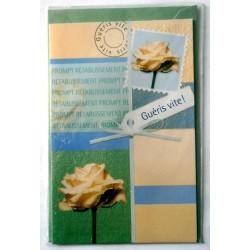 Carte postale double avec enveloppe bon rétablissement roses blanches pailletés neuve