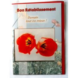 Carte postale double avec enveloppe bon rétablissement coquelicot neuve