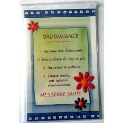 Carte postale double avec enveloppe bon rétablissement humour ordonnance bleu/vert neuve