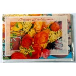 Carte postale double avec enveloppe bon rétablissement floral horizontale neuve