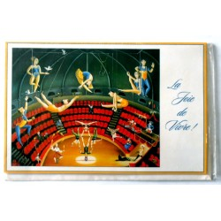 Carte postale double avec enveloppe joyeux anniversaire cirque horizontale neuve