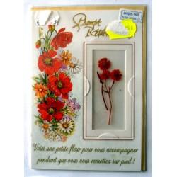 Carte postale double avec enveloppe bon rétablissement marque page fleur naturelle neuve