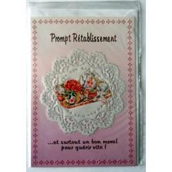 Carte postale double avec enveloppe bon rétablissement relief rose / blanche neuve