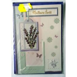 Carte postale double avec enveloppe bon rétablissement relief floral pailleté neuve