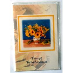 Carte postale double avec enveloppe bon rétablissement bouquet tournesol neuve