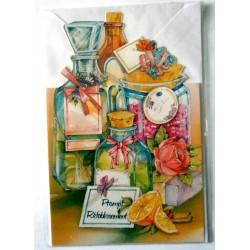 Carte postale double avec enveloppe bon rétablissement divers bouteilles floral neuve