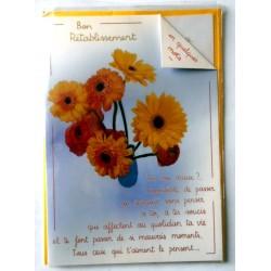 Carte postale double avec enveloppe bon rétablissement divers tournesol floral neuve