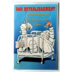 Carte postale double avec enveloppe bon rétablissement humour malade neuve