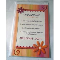 Carte postale double avec enveloppe bon rétablissement humour ordonnance santé neuve
