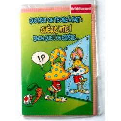 Carte postale double avec enveloppe bon rétablissement humour BABY RABBIT neuve