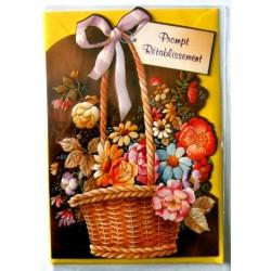 Carte postale double avec enveloppe bon rétablissement découpée florale 2 neuve