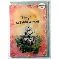 Carte postale double avec enveloppe bon rétablissement humour DIDDL neuve