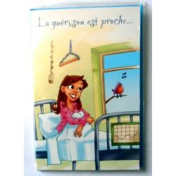 Carte postale double avec enveloppe bon rétablissement humour guérison ... neuve