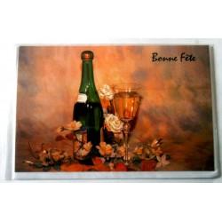 Carte postale double avec enveloppe bonne fête fleurs champagne verre neuve