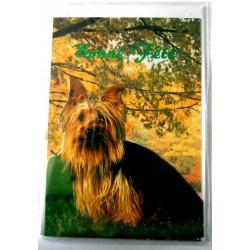 Carte postale double avec enveloppe bonne fête découpé chien Yorkshire neuve