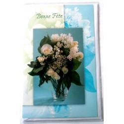 Carte postale double avec enveloppe bonne fête bouquet fleurs blanches neuve