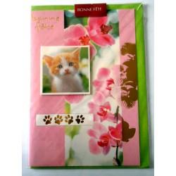 Carte postale double avec enveloppe bonne fête relief chaton floral rose neuve