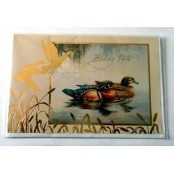 Carte postale double avec enveloppe bonne fête pêche pêcheur canard neuve