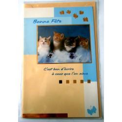 Carte postale double avec enveloppe bonne fête chatons décors dorés neuve