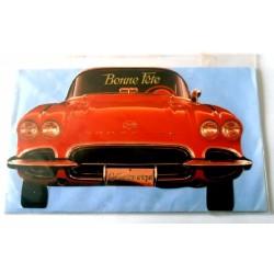 Carte postale double avec enveloppe bonne fête voiture découpé collection Corvette neuve