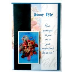Carte postale double avec enveloppe bonne fête bouquet fleurs relief neuve