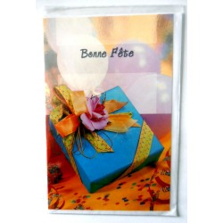 Carte postale double avec enveloppe bonne fête paquet bleu cadeau neuve