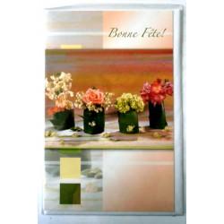 Carte postale double avec enveloppe bonne fête 4 pots de fleurs neuve