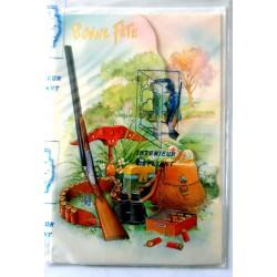 Carte postale double avec enveloppe bonne fête dépliant chasse chasseur neuve