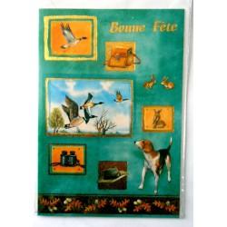 Carte postale double avec enveloppe bonne fête chasse chasseur mélange neuve