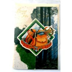 Carte postale double avec enveloppe bonne fête chasse chasseur découpé neuve