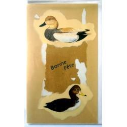 Carte postale double avec enveloppe bonne fête chasse chasseur canard neuve