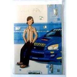 Carte postale double avec enveloppe bonne fête enfants ados rallye SUBARU WRC neuve