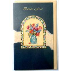 Carte postale double avec enveloppe bonne fête bouquet fenêtre fond violet neuve